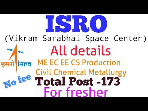 ISRO VSSC Recruitment //Apprentice program  2018-19// B .tech / BE - total post -173