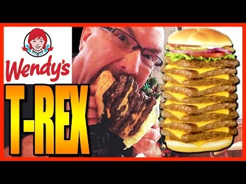 Wendy's T-Rex Burger Challenge 2770 Calorie Burger 9 Patties And 9 Cheese WHAT!!! | KBDProductionsTV