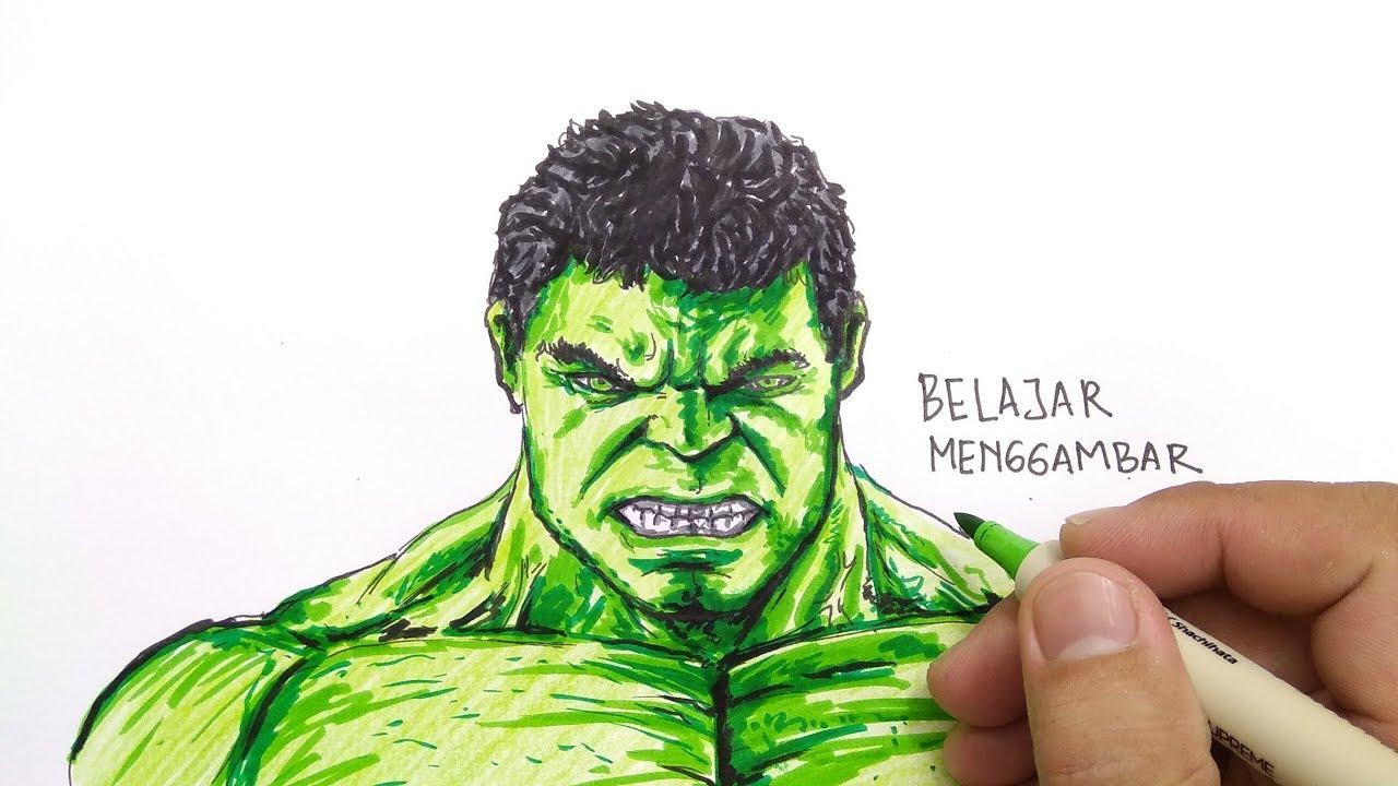 KEREN CARA MENGGAMBAR DAN MEWARNAI HULK Avengers Endgame How To Draw HULK Very Easy