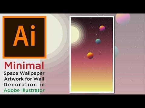 Minimal Space Wallpaper Artwork For Wall Decoration Illustrator Tutorial