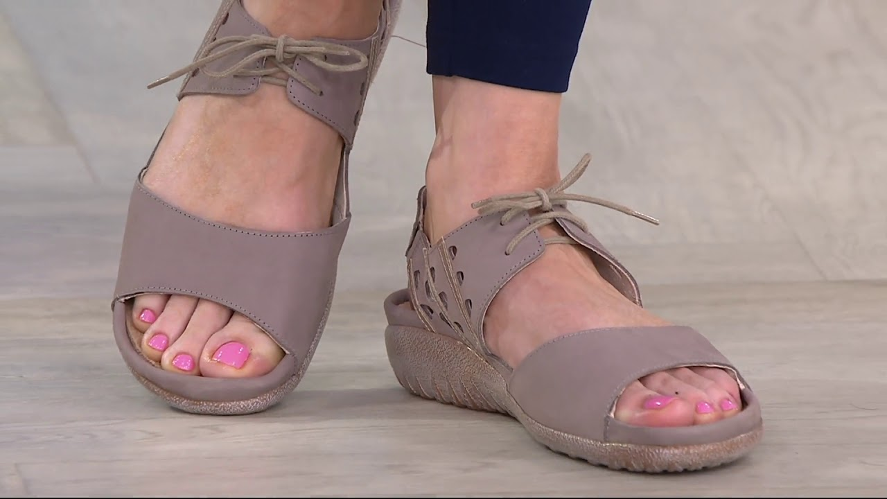 dccd33a215d7 Naot Leather Lace Up Sandals - Mangere on QVC - YouTube