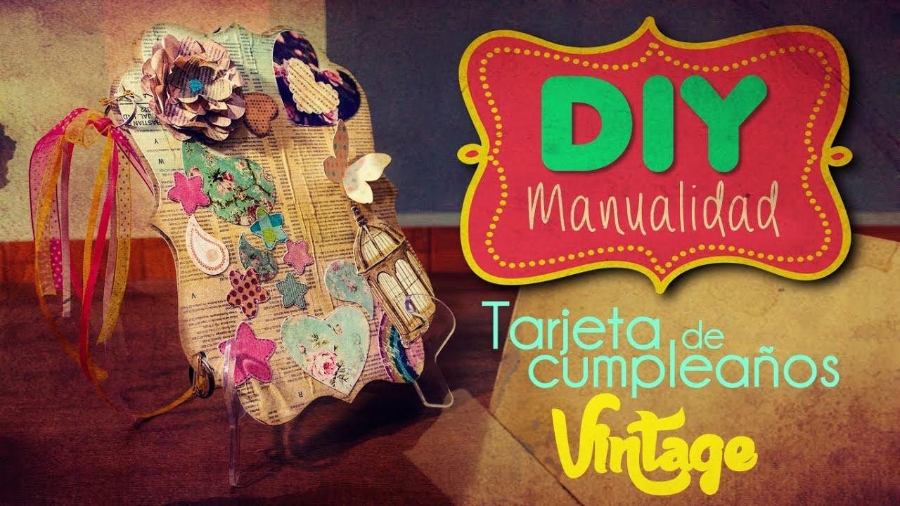 DIY Tarjeta de cumpleaños vintage YouTube