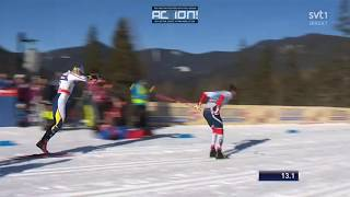 Calle Halfvarssons DRAMATIC fall in the quarterfinal - Sprint (C) WC Planica 2018