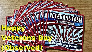 HAPPY VETERANS DAY! (Observed) $30 of $2 Veterans Cash Texas Lottery Tickets