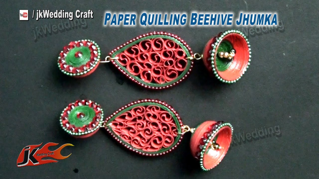 Papercraft Paper Quilling Beehive Jhumka DIY Tutorial | How to make | JK Wedding Craft 069