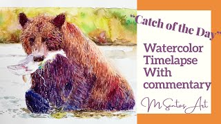 Watercolor Bear Process Painting Timelapse Tips - With Commentary