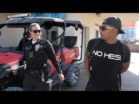 Trying to get Arrested by LADY COP!  (US open Huntington Beach)