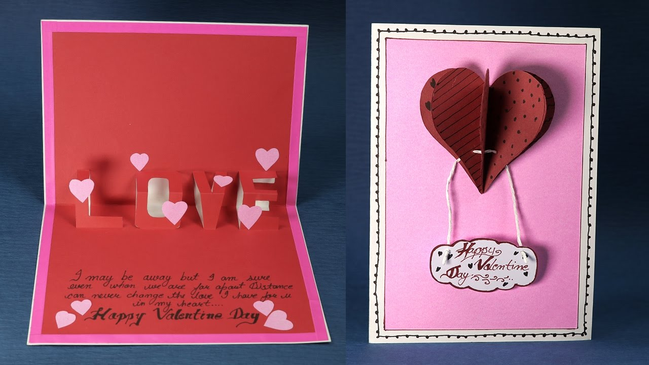Happy Valentine S Day Love Card Diy Valentine Pop Up Heart Card