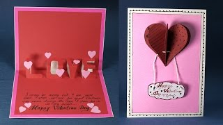Happy Valentine's Day Love Card - DIY Valentine Pop Up Heart Card