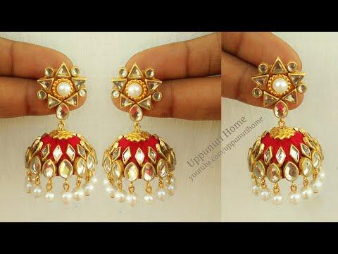 How To Make Beautiful Silk Thread Pearl Earrings At Home | Jhumkas Diy | Jewelry Making|uppunutihome