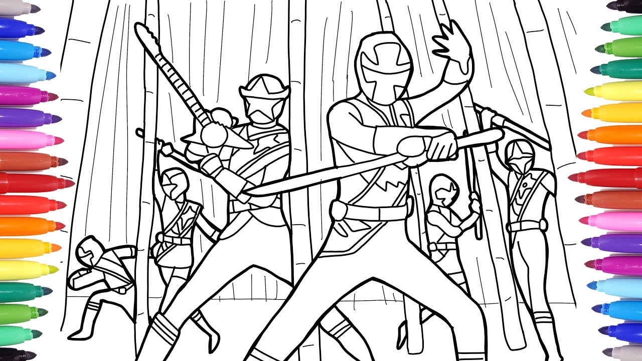 Power Ranger Coloring Pages for Kids, Coloring Power Rangers with Markers