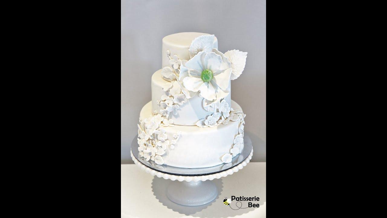 Simple And Elegant Floral Wedding Cake Tutorial Youtube