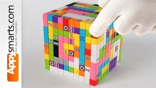 Poor Tangled Numberbocks trapped in a Big Magnetic Cube (satisfying ASMR build for kids)