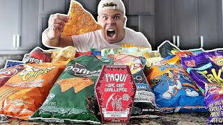 I Mixed Every Potato Chip Flavor Together (100+ FLAVORS One Chip Challenge) *IMPOSSIBLE*