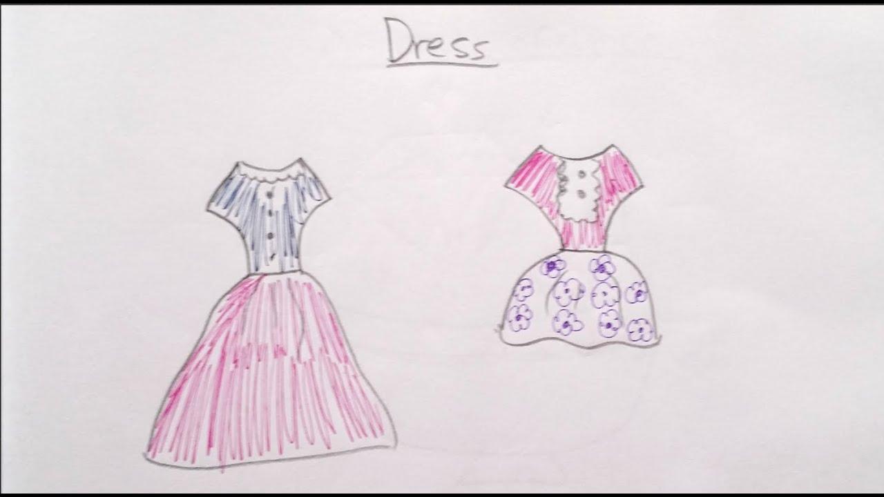 How To Draw Cartoon Dress 畫卡通裙子