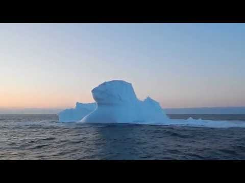 Greenland Iceberg Collapse at Sunset -- Spectacular!