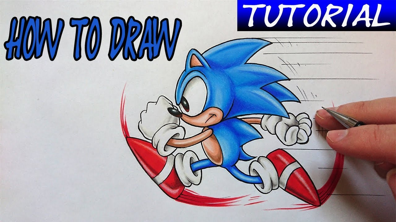 How To Draw Sonic The Hedgehog Easy Tutorial Youtube