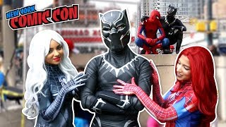 Video BLACK PANTHER VS SPIDER MAN VS New York Comic Con 2017 Ft. DEADPOOL download MP3, 3GP, MP4, WEBM, AVI, FLV Juni 2018