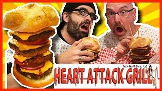 Heart Attack Grill - Quadruple Bypass Burger Challenge W/ Naader Reda