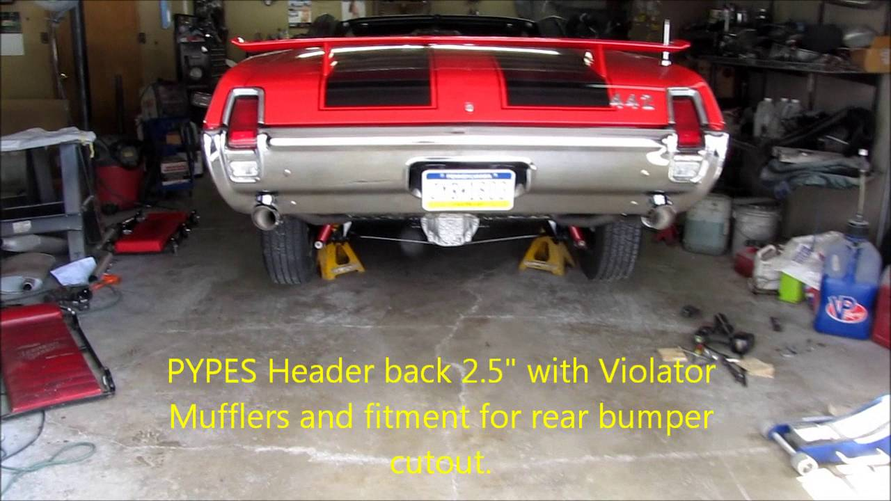 Pypes 69 Olds 442 headers back exhaust - YouTube