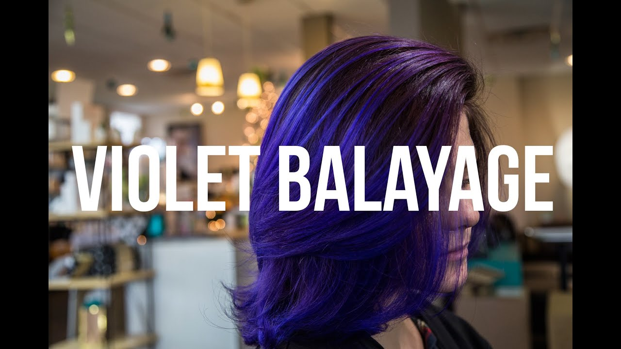 Blonde To Violet Balayage Hair Coloring Youtube