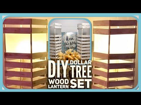 DIY Farmhouse Dollar Tree Wood Lantern Set - Rustic Farmhouse Lamp Room Decor - Simple, Cheap & Easy