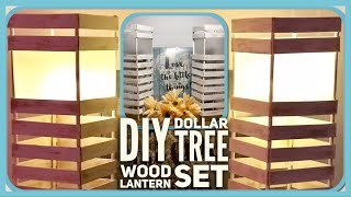 DIY Farmhouse Dollar Tree Wood Lantern Set - Rustic Farmhouse Lamp Room Decor - Simple, Cheap & Easy
