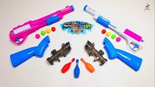 Shoot Toy Guns With Scope, Ping Pong Color Balls, Bowling and  Shot Gun Sticker