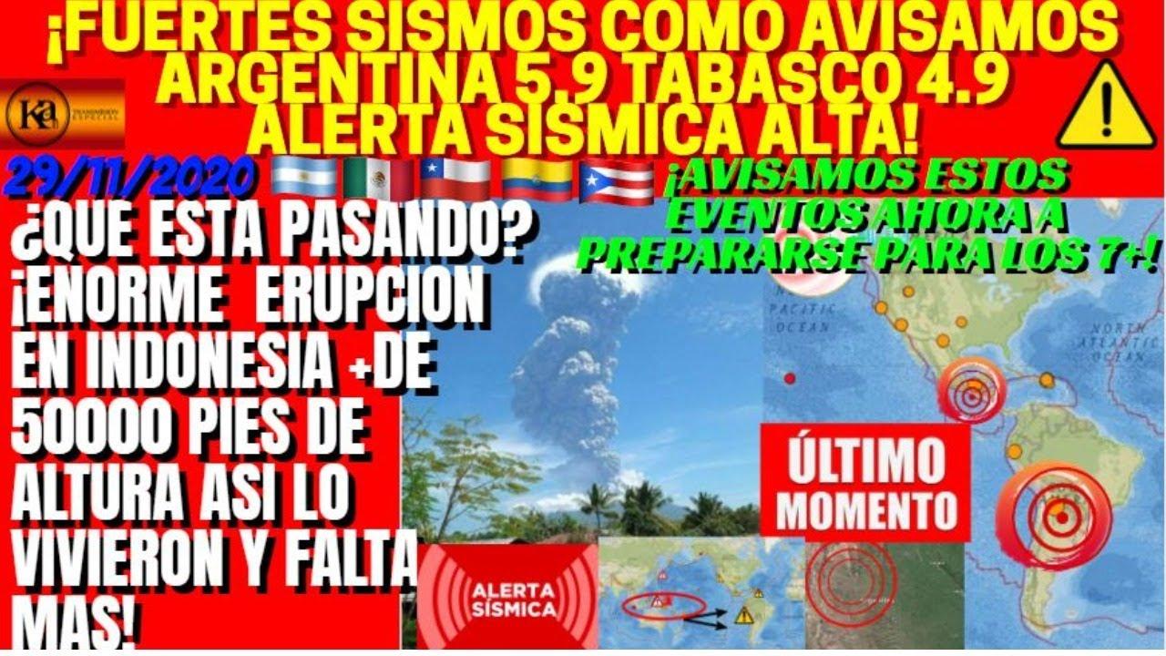 ¡FUERTES SISMOS EN ARGENTINA Y MEXICO ATENTOS SE MUEVEN LAS ZONAS EN ALERTA!¡MEGAERUPCION INDONESIA!