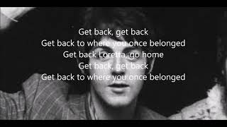 Get Back With Lyrics The Beatles
