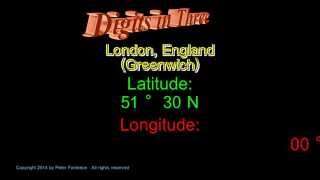 London England - Latitude and Longitude - Digits in Three