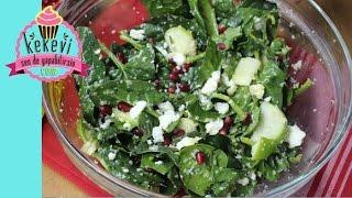 Çiğ Ispanak Salatası / Elmalı Narlı Ispanak Salata
