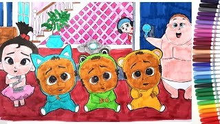 The Boss Baby Movie Triplets Jimbo Staci Coloring Pages Book Video For Kids Youtube