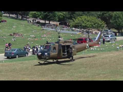 USA RAN UH-1 Huey Helicopter Start & departure from the Lone Tree Cemetery.