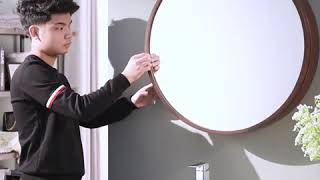 욕실 원형 거울 수납장 화장실 장식장 욕실장 LED거울