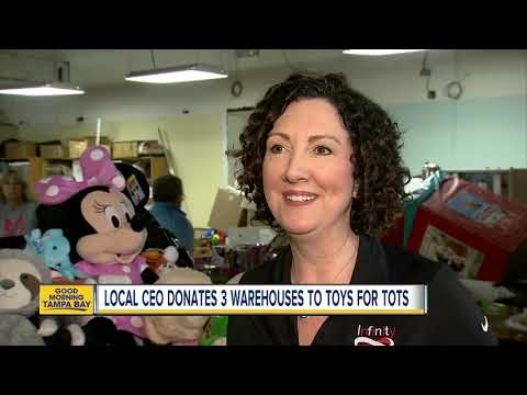 Clearwater businesswoman donates three warehouses to Toys for Tots in the Tampa Bay area