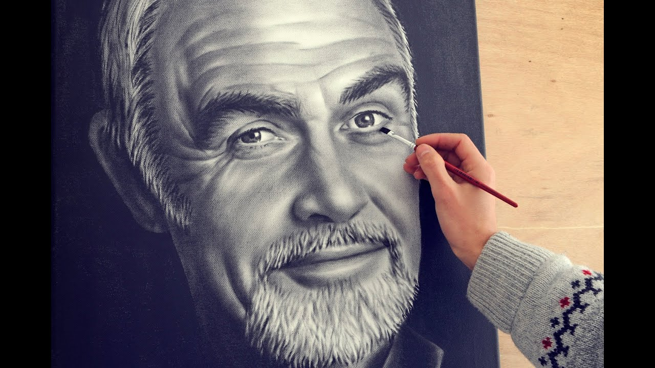 Sean connery speed drawing portrait dry brush how to for How to paint a portrait in watercolor