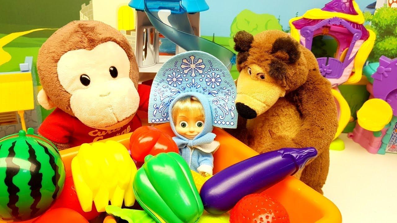 Impara con Masha e Orso con curioso come George a INDOVINA e SCOPRI nomi di frutta e verdura 🍅 🍌