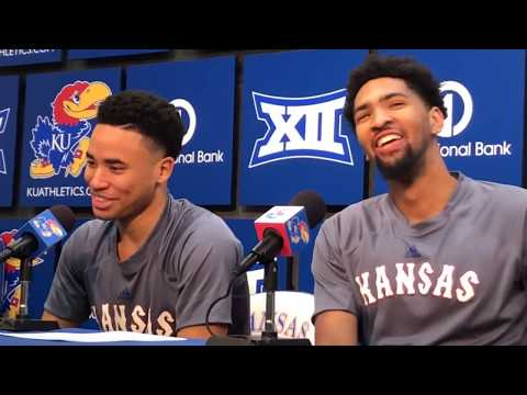 Kansas players after defeating Iowa State
