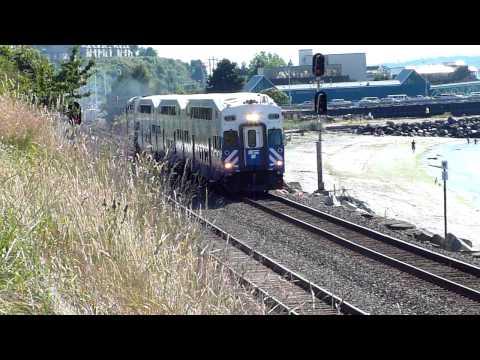 afternoon Sounder commuter train leaving Edmonds, WA