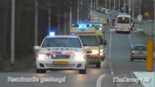 Brandweer, politie en ambulance met hoge spoed naar REANIMATIE Rozenburg Zh + Spoedtransport