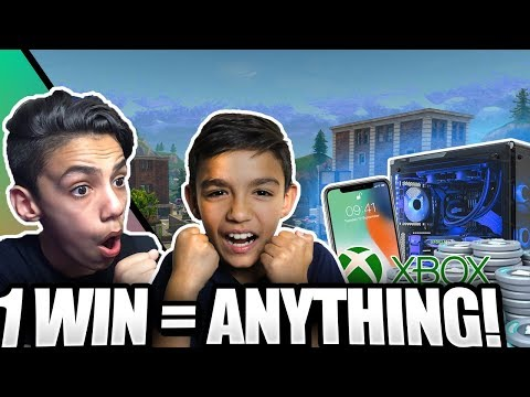 1 Win = Buy Anything You Want! Fortnite Challenge With Little Brother!