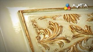 125. Отделка двери с золотом (поталь) и элементами старения (битумная патина)