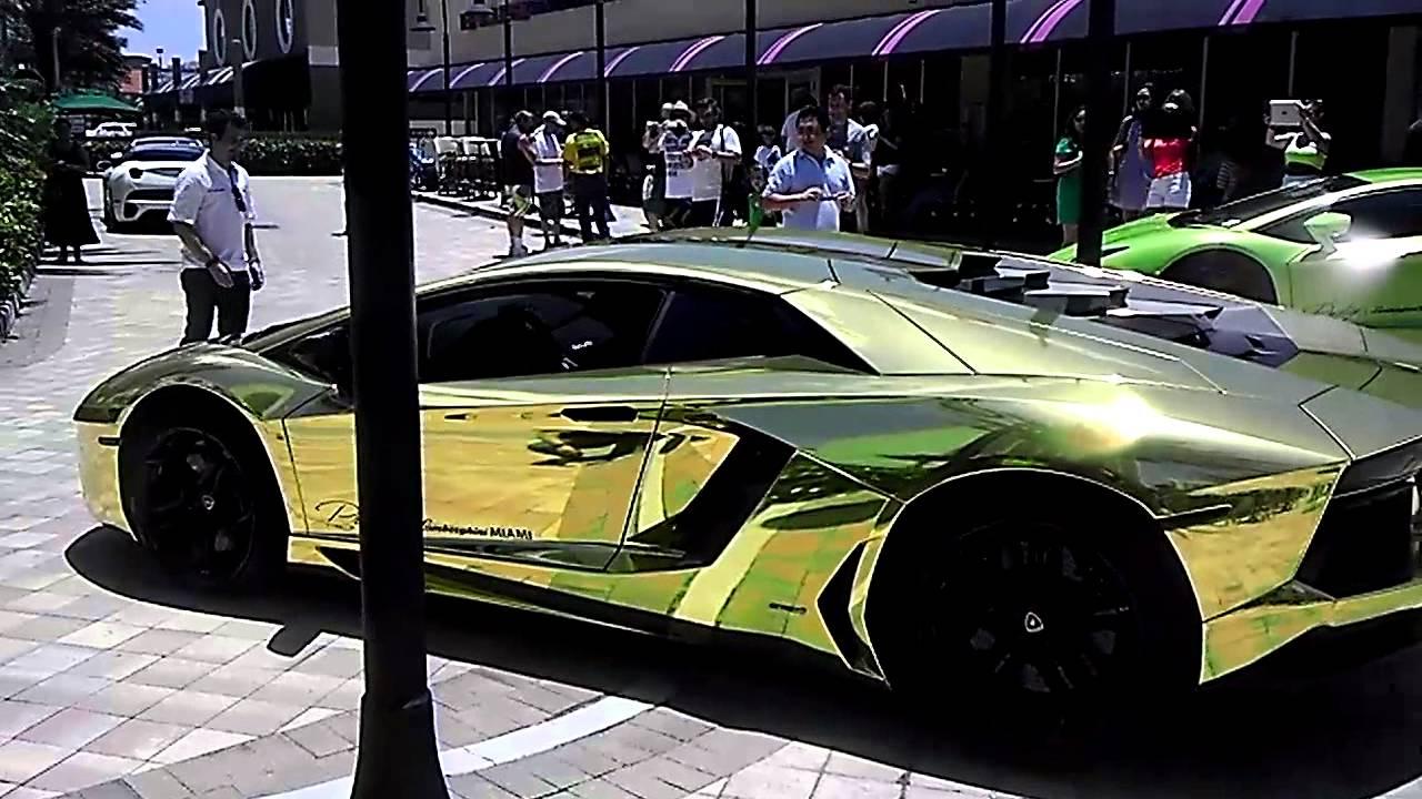 Gold Lamborghini In Miami Youtube