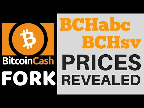 Bitcoin Cash Fork Prices Revealed - BCHSV, BCHABC