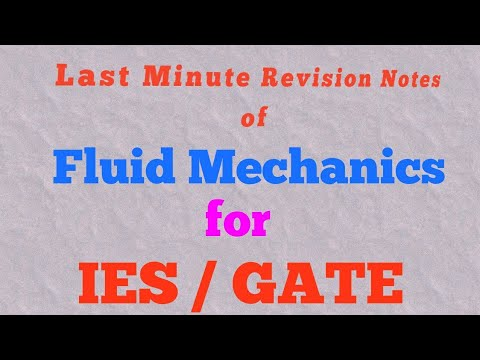 Quick revision notes of Fluid Mechanics|| IES/ GATE exams
