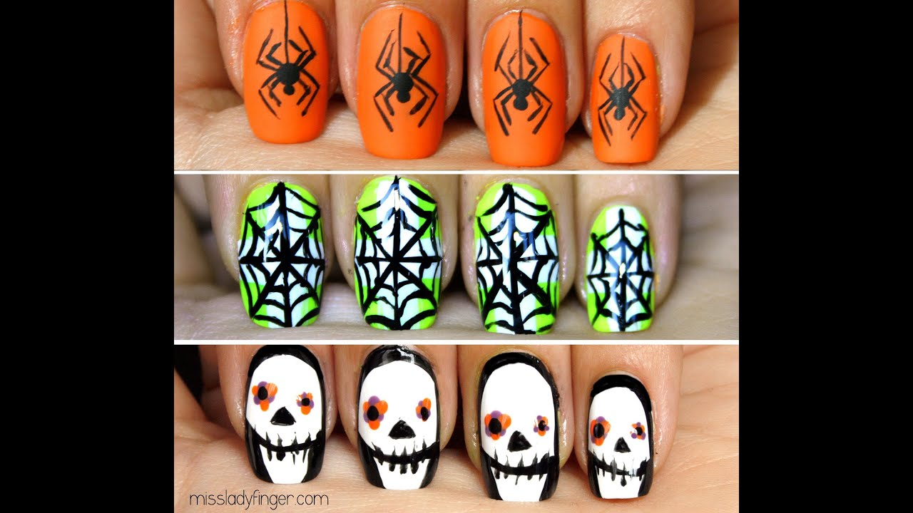 Halloween Ladyfingers: 3 Easy Nail Art Tutorials