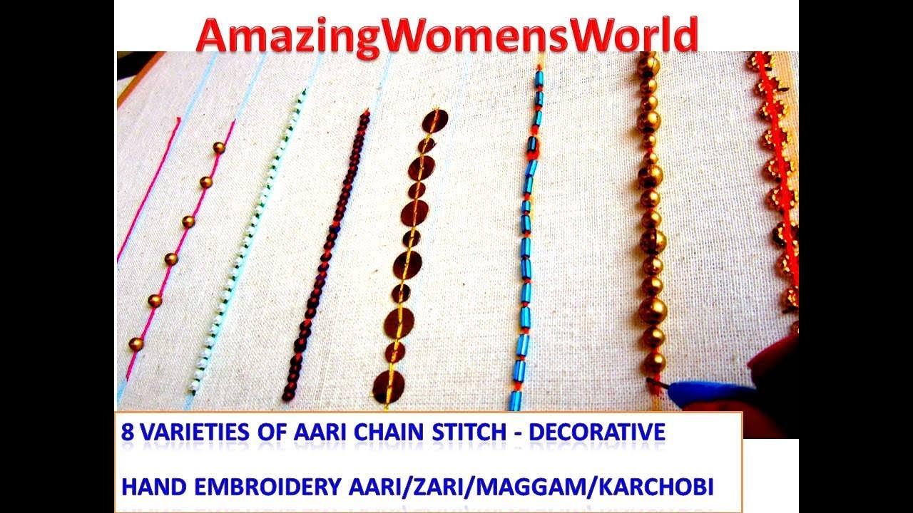 Diy ideas of varieties aari chain stitch decorative