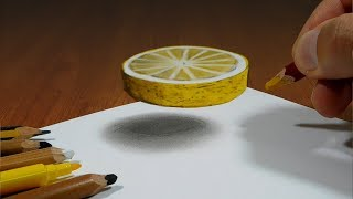 3D Trick Art on Paper  Lemon slice   Optical Illusion