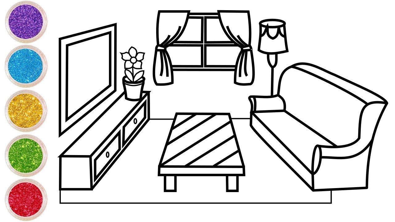 Livingroom drawing and coloring pages for kids glitter toy art